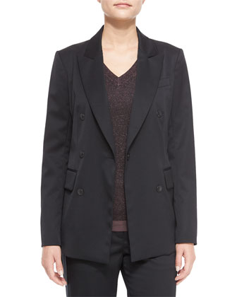 Scroll Blazer with Buttons, Marie Metallic Knit V-Neck Top & Penelope ...