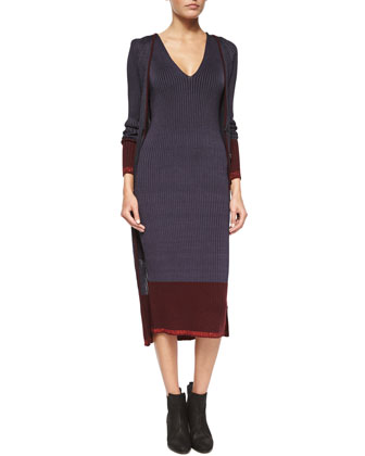 Kristin Ribbed Knit Long Cardigan & Ribbed Knit Midi Dress