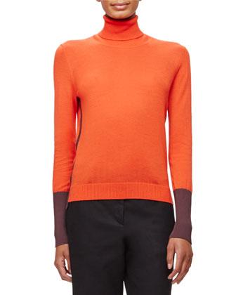 Jessica Colorblock Turtleneck Top & Nettie Zip-Front Skirt