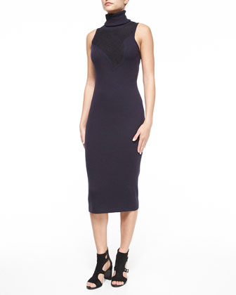 Carolyn Sleeveless Lace Turtleneck Dress