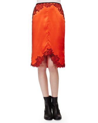 Valentina Cashmere Tunic Sweater & Izabella Lace-Trim Silk Skirt