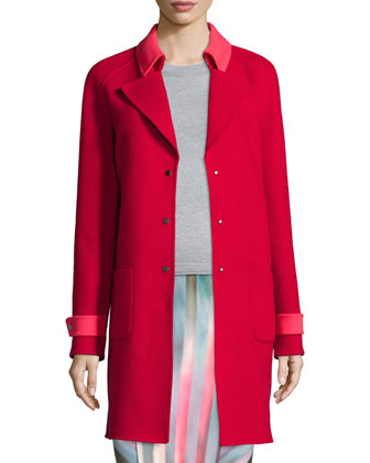 Lisa Wool-Blend Mid-Length Coat, Blu Long-Sleeve Merino Sweater & Arianna ...