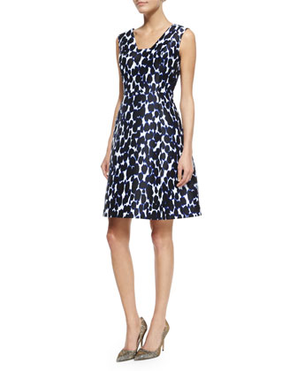 sleeveless animal-print fit & flare dress