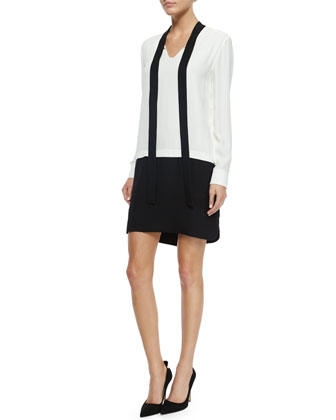 tie-neck colorblock shirtdress, cream