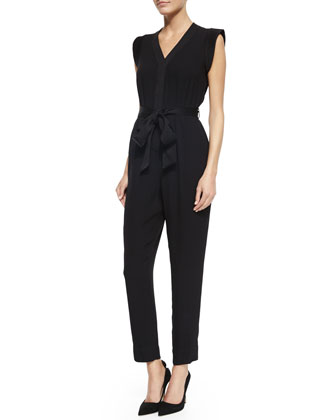 crepe v-neck jumpsuit, black
