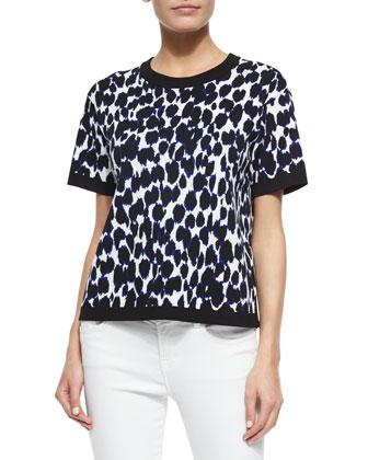 short-sleeve leopard-print knit sweater, deep indigo