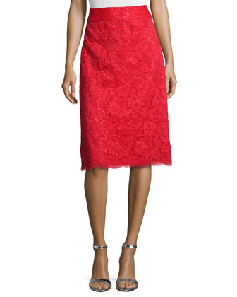 midi lace a-line skirt