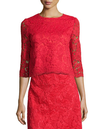 3/4-sleeve floral lace crop top & midi lace a-line skirt