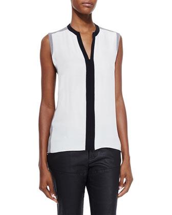 Bianca Hooded Coat & Karrie Sleeveless Silk Colorblock Blouse