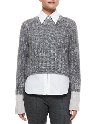 Makenna Cropped Knit Sweater, Frances Zip-Front Shirt & Polly Cropped Wool ...