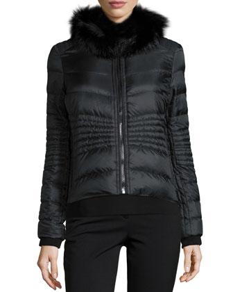 Carrie Reversible Fur-Collar Jacket