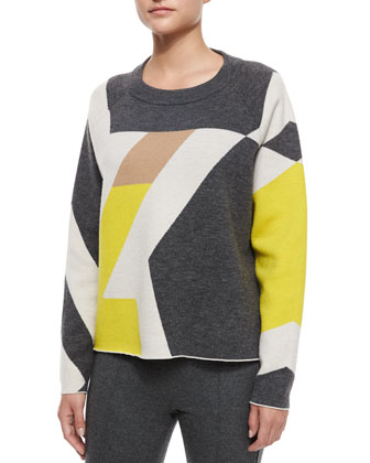 Hilary Geometric Pullover Sweater & Polly Cropped Wool Pants