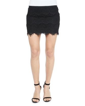 Lace Mini Skirt, Black
