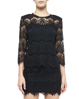 Lace Open-Back Top, Black