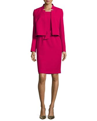 Belted Sheath Dress W/Matching Jacket, Raspberry