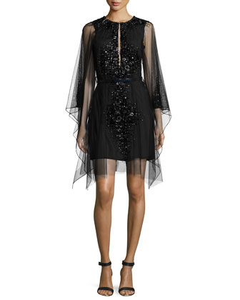 Moroccan Jeweled Mesh Dress, Onyx