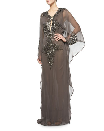 Embellished Long-Sleeve Gown, Alloy