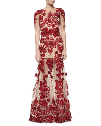 Half-Sleeve Floral-Applique Gown, Red