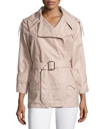 French Plonge Leather Trench Coat, Flesh