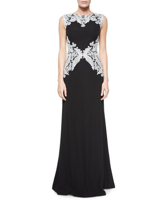 Sleeveless Lace-Embellished Gown, Silver/Black