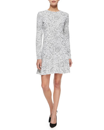 Long-Sleeve Doodle-Print Dress