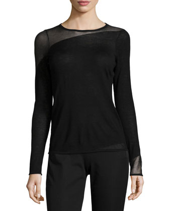 Kira Long-Sleeve Sheer-Inset Wool Sweater