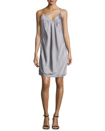 Sleeveless Charmeuse Cami Dress, Storm