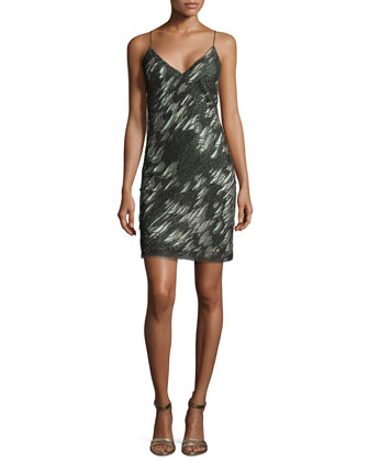 Shredded Sequin Sleeveless Dress, Onyx/Carbon