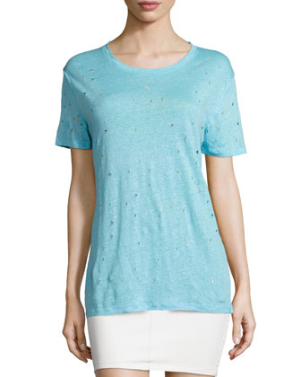 Clay Hole-Detail Tee, Blue