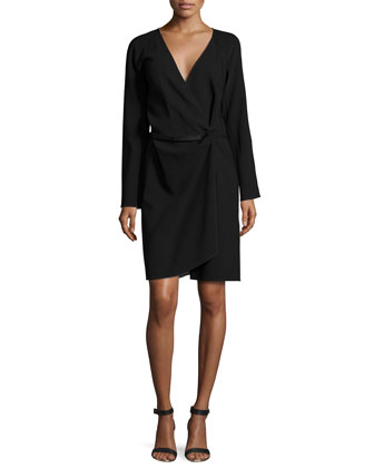 Long-Sleeve Wrap Dress, Onyx