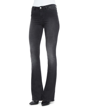 Long-Sleeve Simple Shirt & Bodycon Marrakech Flare Jeans