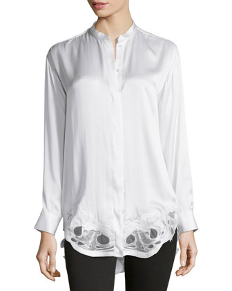 Olwen Embroidered-Hem Blouse