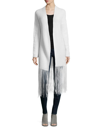 Ribbed Long Cardigan W/ Fringe