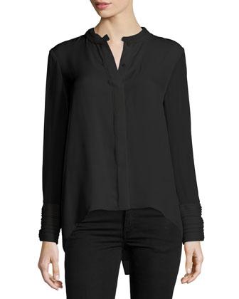 Alejandra Long-Sleeve Silk Blouse