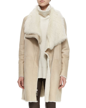 Asymmetric Shearling Fur Coat, Ribbed Sleeveless Turtleneck Sweater & ...