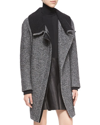 Shawl Collar Asymmetric-Zip Coat, Long-Sleeve Skinny-Rib Sweater & Pleated ...