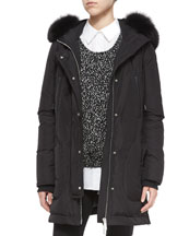 Fox Fur-Trimmed Hooded Parka, Long-Sleeve Boucle Sweater & Long-Sleeve ...