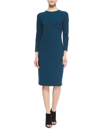 3/4-Sleeve Boucle Sheath Dress