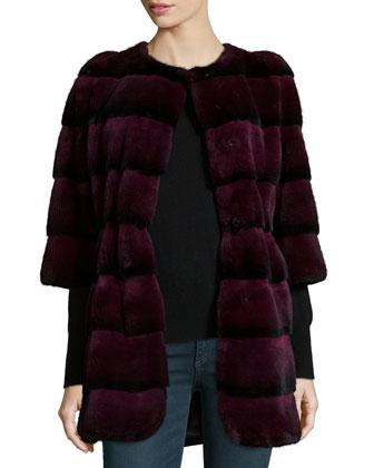 3/4-Sleeve Ribbed Rex Rabbit Fur Coat