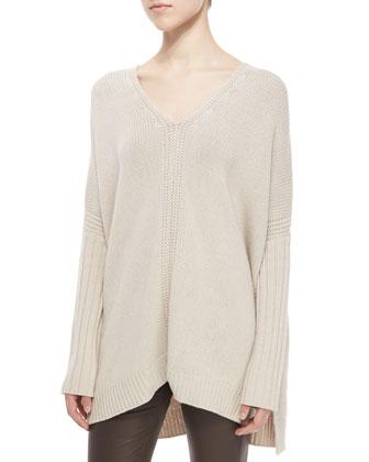 Mixed-Rib Knit Poncho Sweater & Skinny Leather Pants