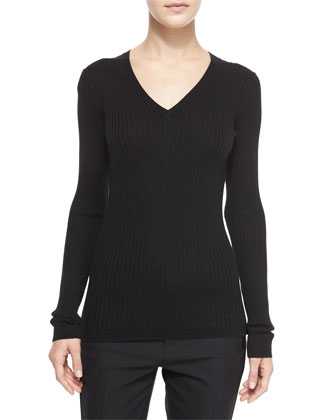 Ribbed Knit V-Neck Sweater