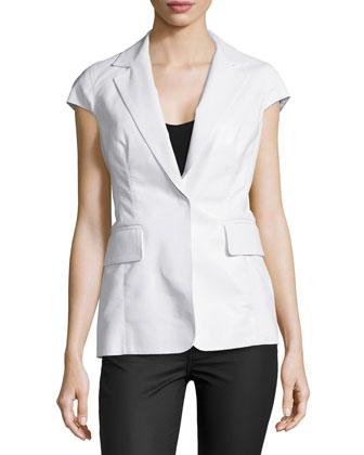 Cap-Sleeve Notch-Collar Jacket, Optic