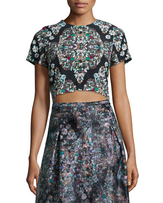 Short-Sleeve Resplendent Crystal-Print Crop Top