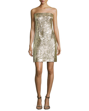 Strapless Gladiator Sequin Dress, Gold