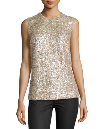 Sleeveless Gravel Paillettes Top, Desert