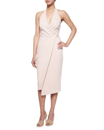 Sleeveless Faux-Wrap Dress, Nude