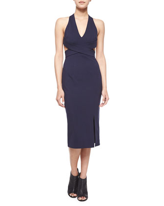 Halter-Neck Crisscross Dress, Navy