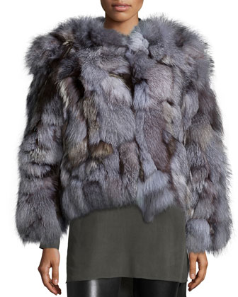 Graye Open-Front Fox-Fur Coat, Gray