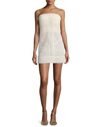 Strapless Bustier Mini Dress, Bone
