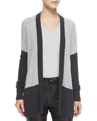 Colorblock Mixed-Knit Cardigan, Ribbed Knit V-Neck Sweater & Leather Belted ...